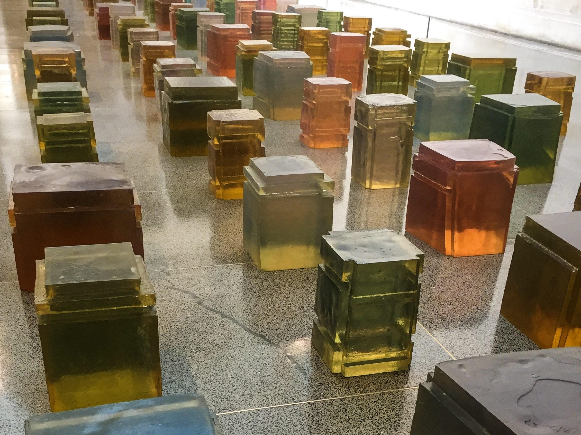 Rachel Whiteread's sculptures and artwork 'Untitled (One hundred spaces) at Tate Britain sculpture sculptor space clay resin
