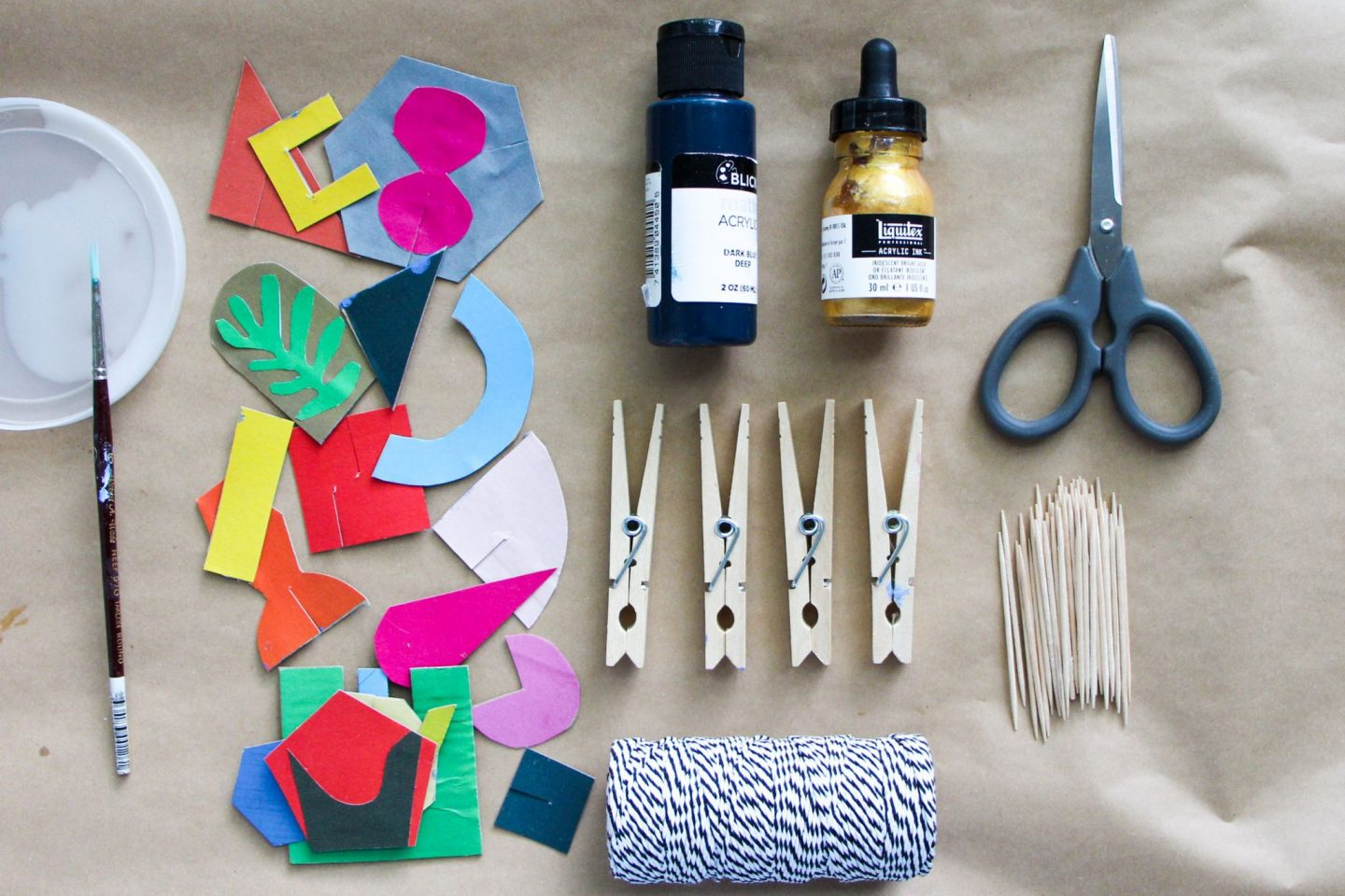 Tools and materials that can be used to make a cardboard sculpture out of the Play Shapes!