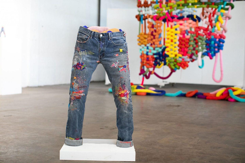 Katrina Sánchez Standfield weaving sculpture jean sculpture